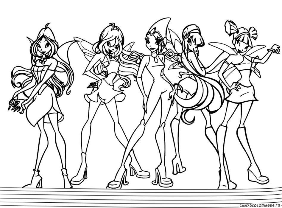 Coloriage winx club les personnages des winx a imprimer - Dessin anime des winx club ...