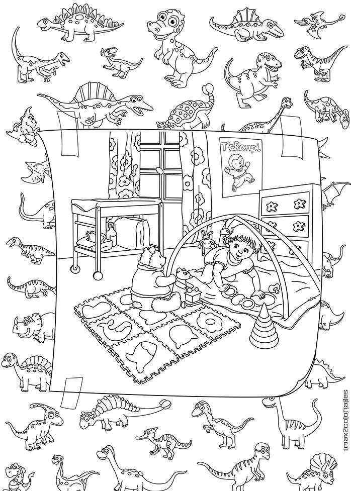 coloriage pour adulte anti stress b b dans sa chambre entour de dinosaures. Black Bedroom Furniture Sets. Home Design Ideas