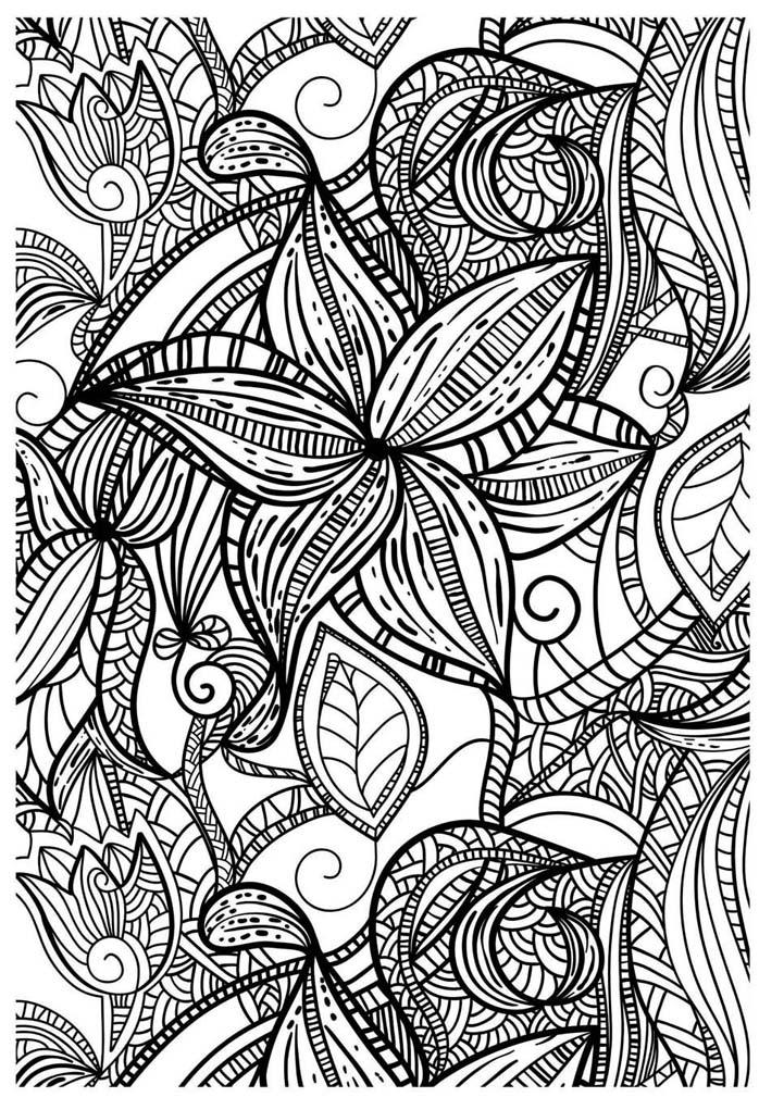 Coloriage pour adulte anti stress fleurs g om triques a - Dessin geometrique a colorier ...