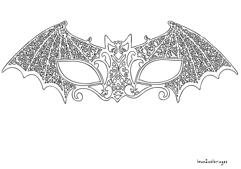 Coloriage pour adulte anti stress masque v nitien chauve - Masque chauve souris a imprimer ...