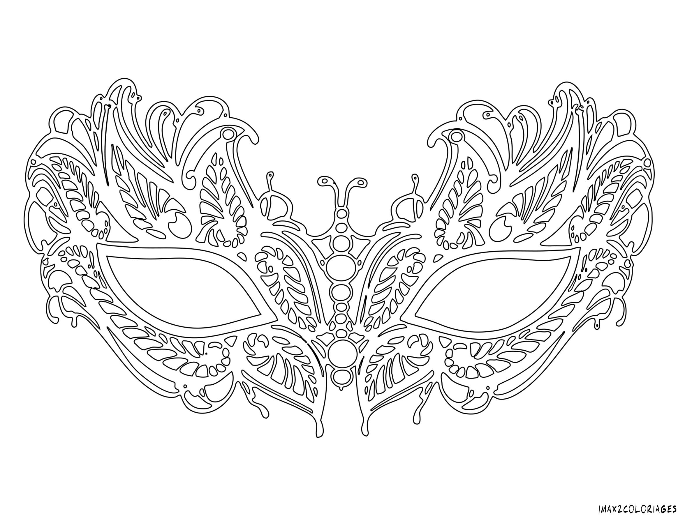 Coloriage pour adulte anti stress masque v nitien - Masque a imprimer pour fille ...