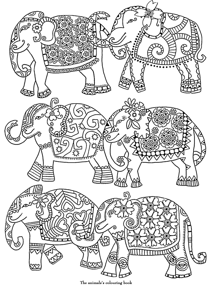 Coloriage Adulte Art Therapie Elephants A Colorier