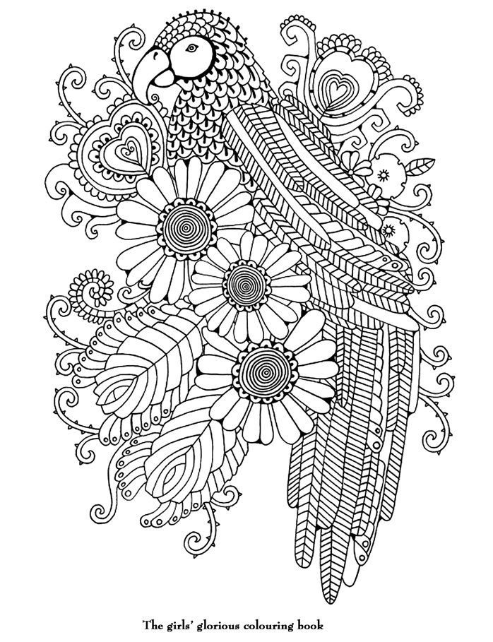 Coloriage adulte art therapie un perroquet colorier - Coloriage therapie ...