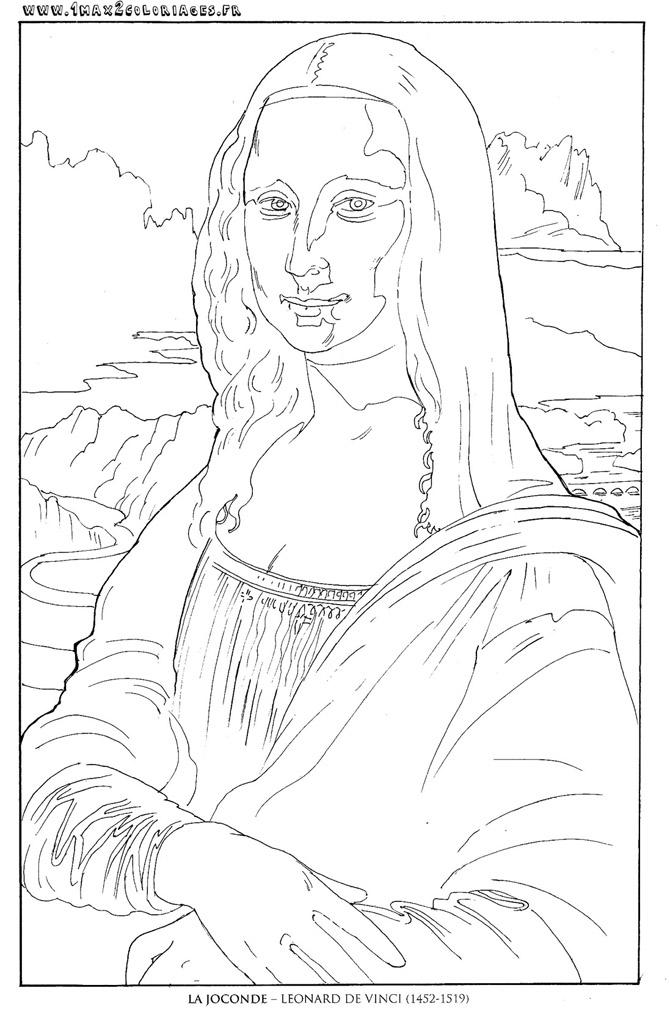 Coloriages Tableaux De Maitre Leonard De Vinci La Joconde
