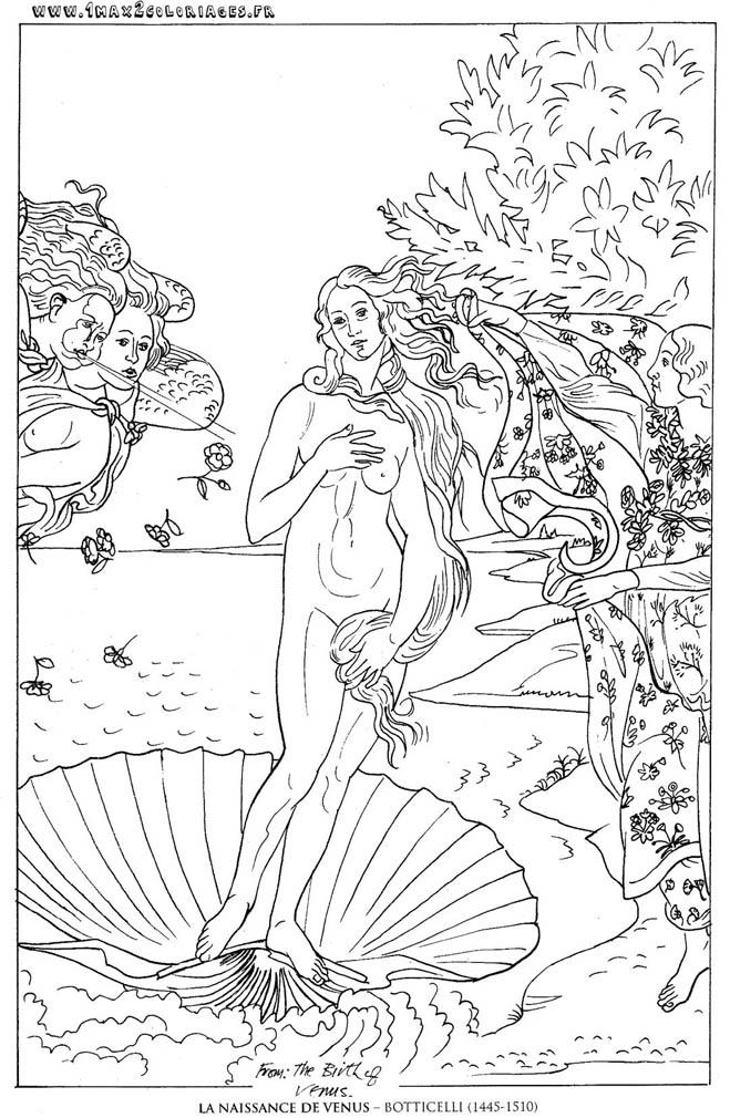 Coloriages Tableaux De Maitre Botticelli La Naissance De Venus