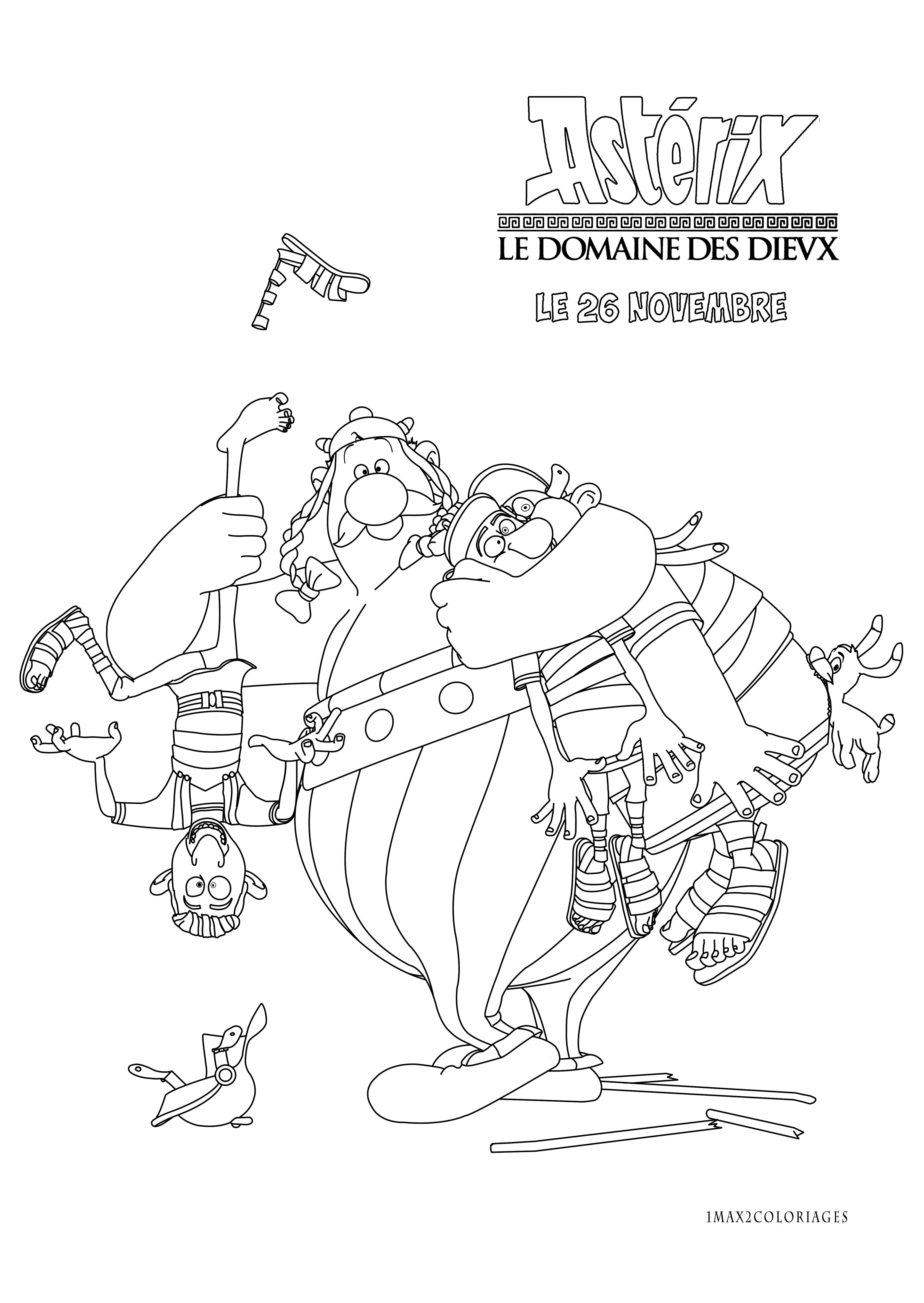 Coloriage Asterix Et Le Domain Des Dieux Obelix Et Deux Romains Un Film Plein De Tendresse