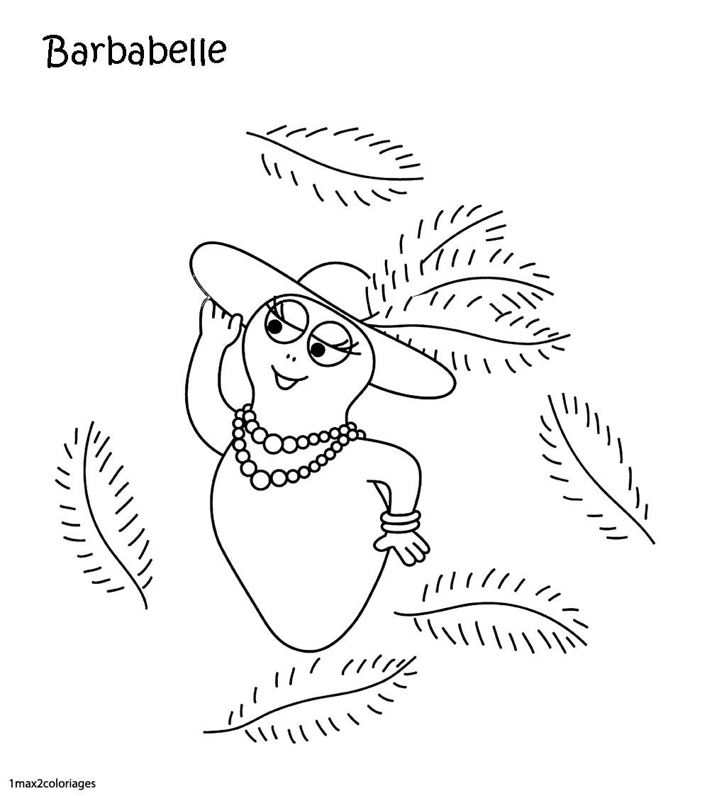 Coloriages barbapapa barbabelle et des plumes - Coloriage barbe a papa ...