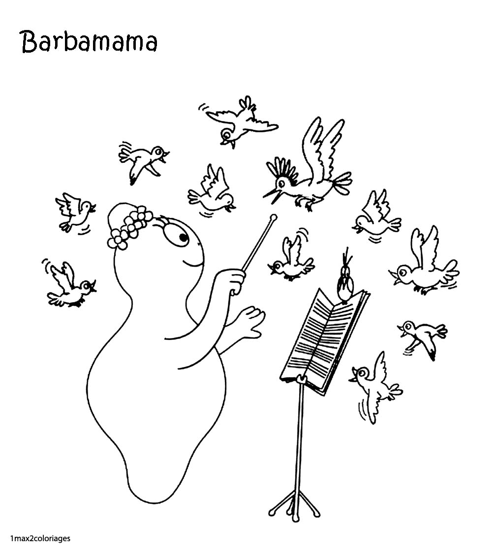 Coloriages Barbapapa Barbamama Est De Couleur Noir