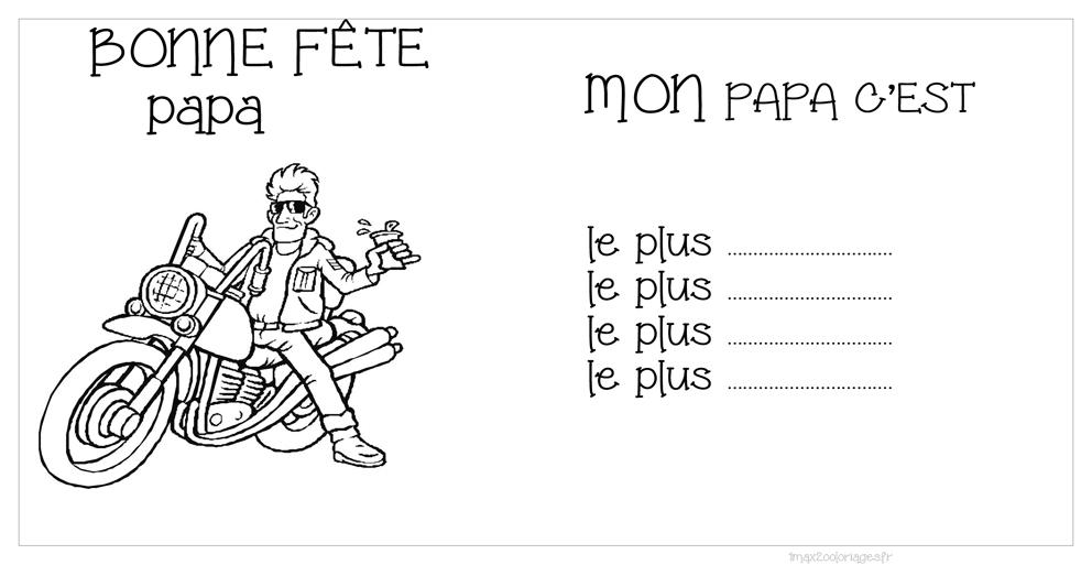 Coloriage D Une Carte Bonne Fete Papa Motard