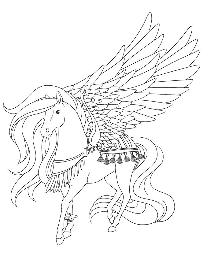 Coloriage magnifique cheval ail a imprimer - Dessin de cheval magnifique ...