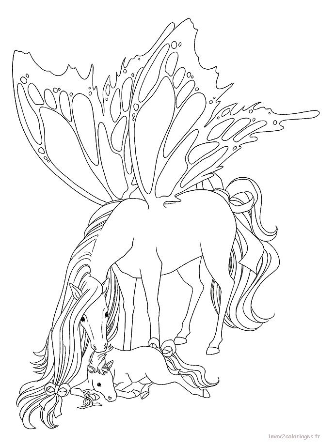 Coloriage un cheval magique aux ailes de papillons a imprimer - Coloriage chevaux imprimer ...