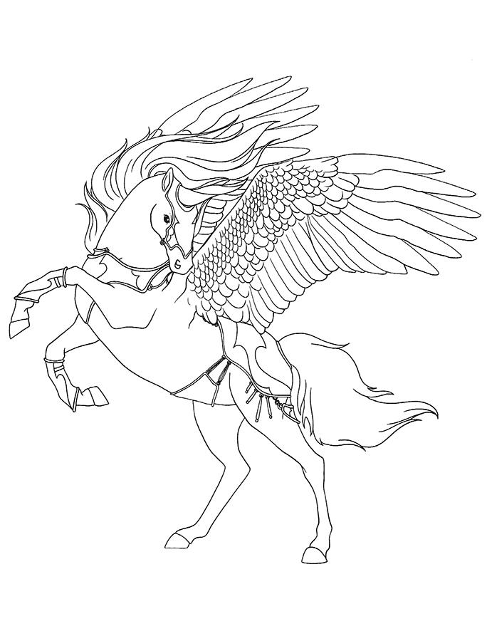 Coloriage cheval ail p gase est l 39 une des cr atures - Coloriage des chevaux ...