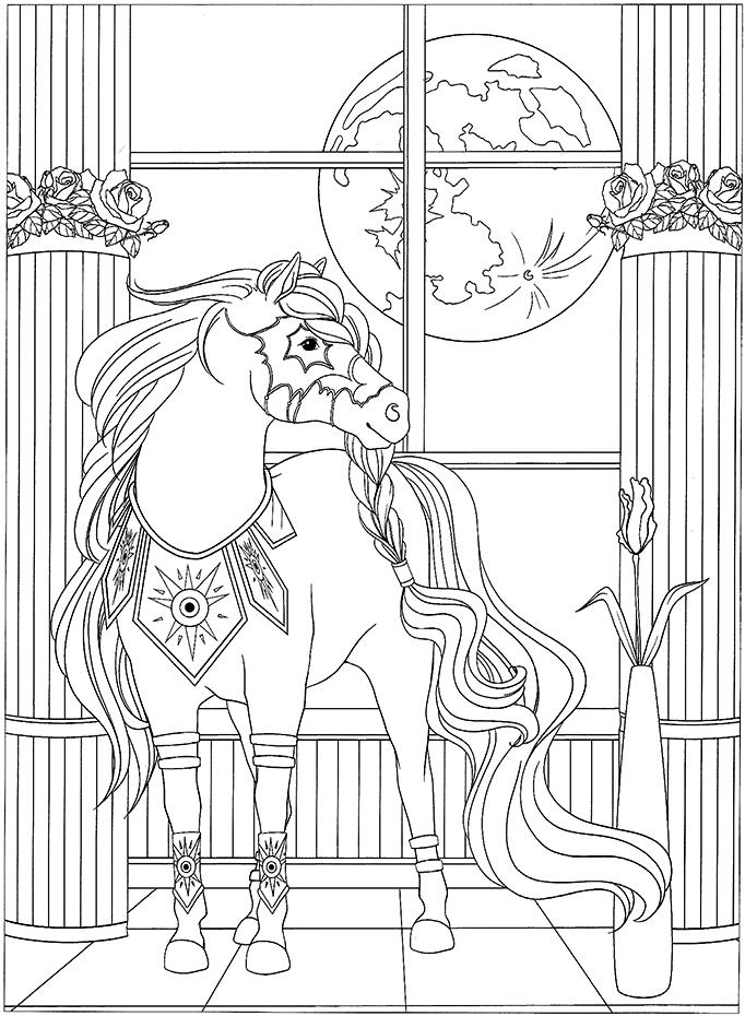 Coloriage cheval fantastique dans un palais au clair de - Coloriage des chevaux ...