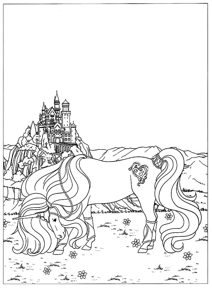Coloriage Licorne Fee.Coloriage Licorne Devant Un Magnifique Chateau De Contes De Fee A