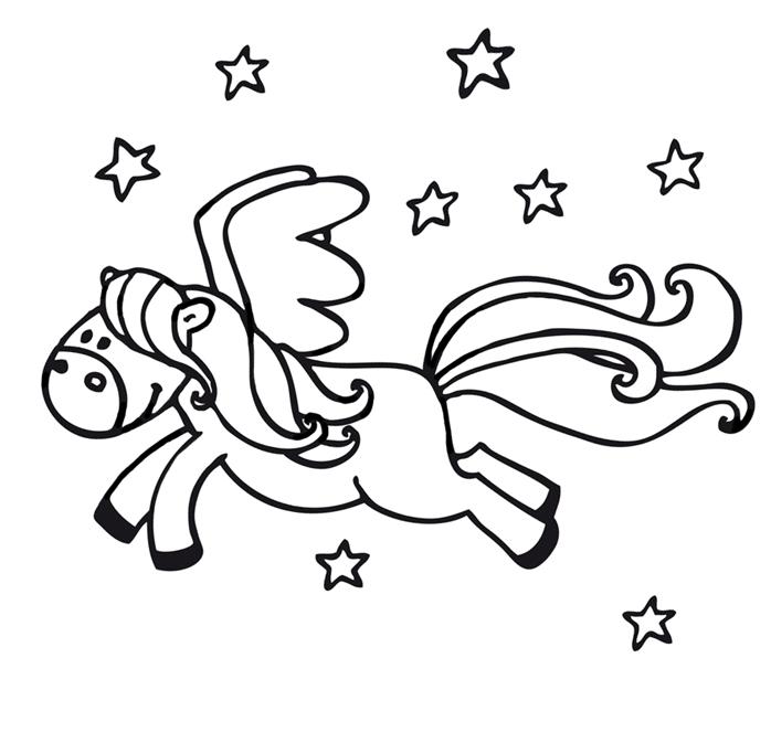 Coloriage de p gase le cheval ail a imprimer - Coloriage pegase ...