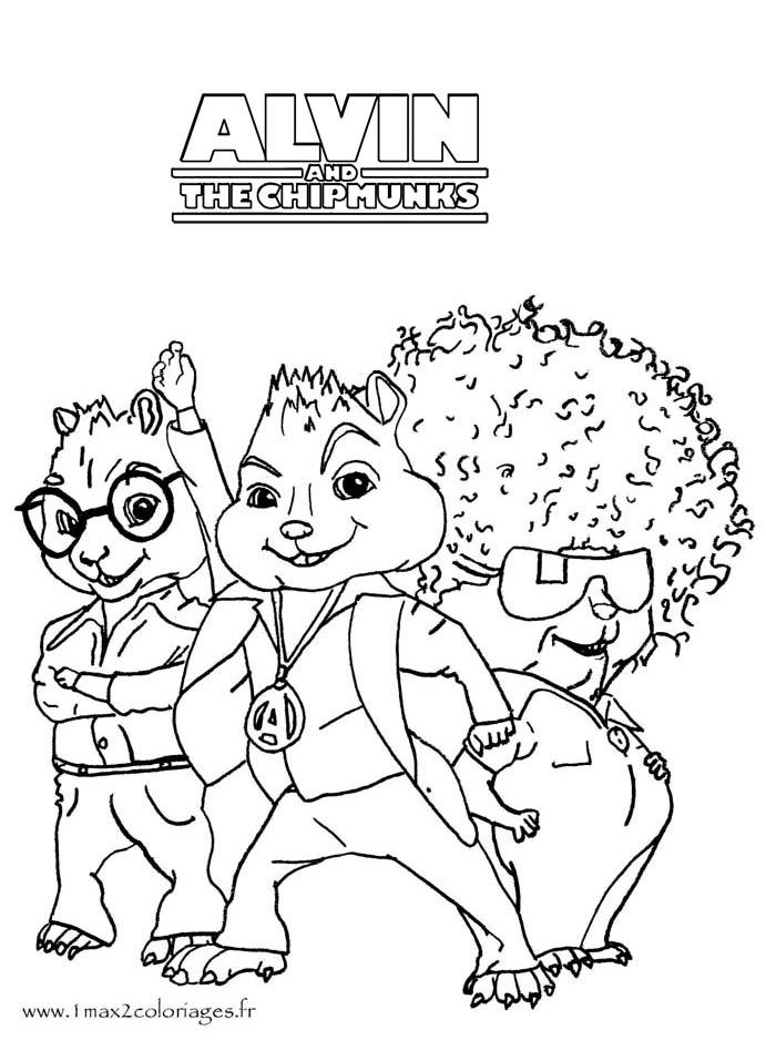Coloriage alvin et les chipmunks les chipmunks en tenue de sc ne - Coloriage de alvin et les chipmunks 2 a imprimer ...