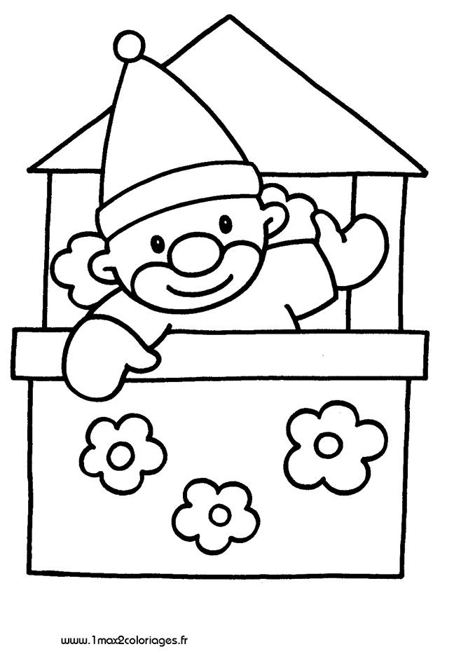 Coloriages pour les 3 4 ans clown dans la boite a imprimer - Coloriage pour 2 ans ...