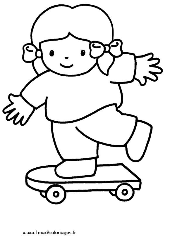 Coloriages pour les 3 4 ans une petite fille en skate a imprimer - Coloriage pour petite fille ...