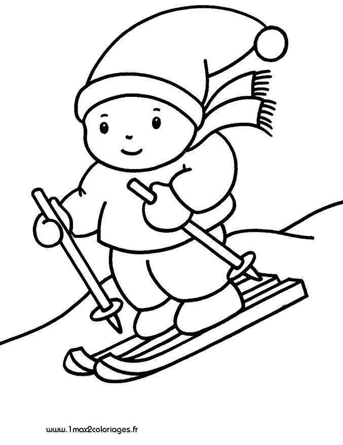 Coloriages pour les 3 4 ans enfant skieur a imprimer - Coloriage enfant a imprimer ...