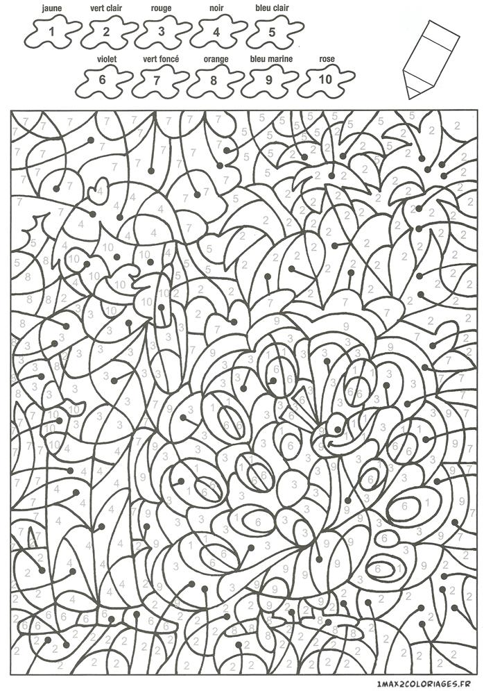 Colorier avec les nombres avec 10 couleurs, Jean regarde le joli paon a imprimer