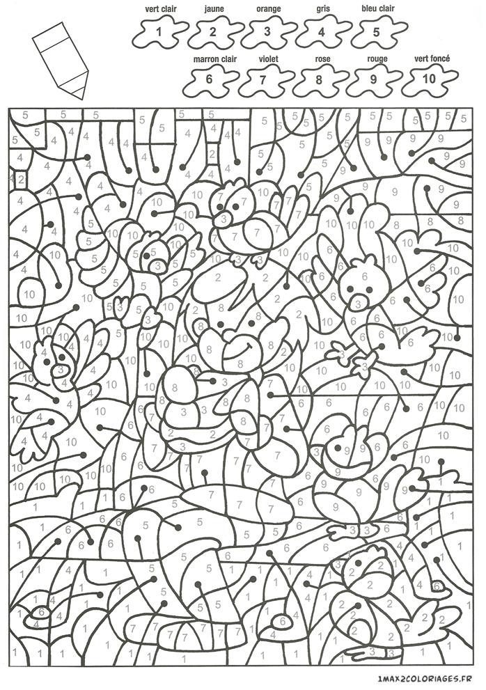 Colorier avec les nombres avec 10 couleurs michel mange - Coloriage avec des chiffres ...
