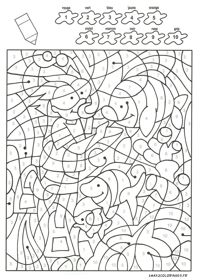 Colorier avec les nombres avec 10 couleurs un plongeur et - Dessin plongeur ...