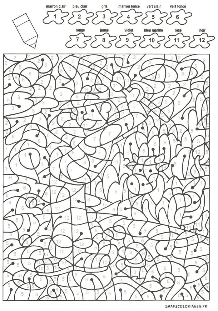 Colorier avec les nombres avec 12 couleurs maxime au - Coloriage avec des chiffres ...