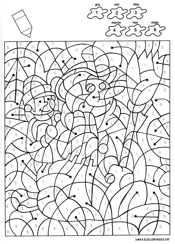 Colorier avec les nombres avec 6 couleurs un beau - Coloriage avec des chiffres ...