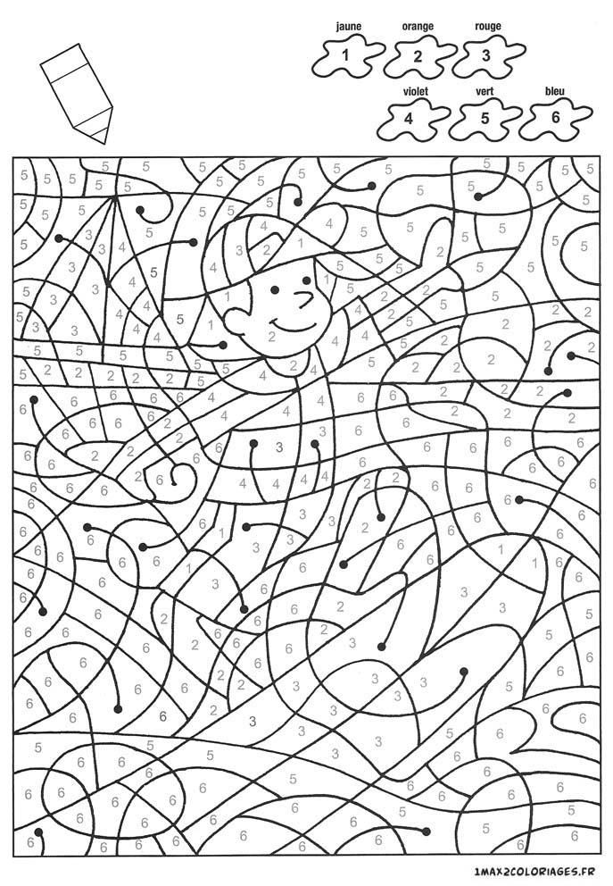 Colorier avec les nombres avec 6 couleurs un enfant sur - Coloriage avec des chiffres ...