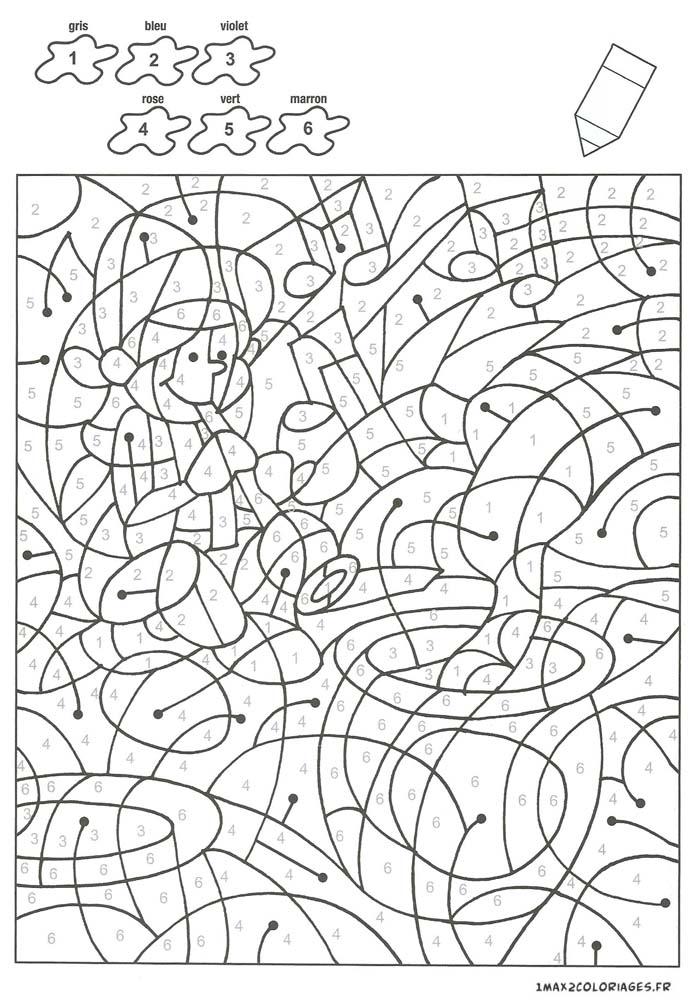 Colorier avec les nombres avec 6 couleurs un charmeur de - Coloriage avec des chiffres ...