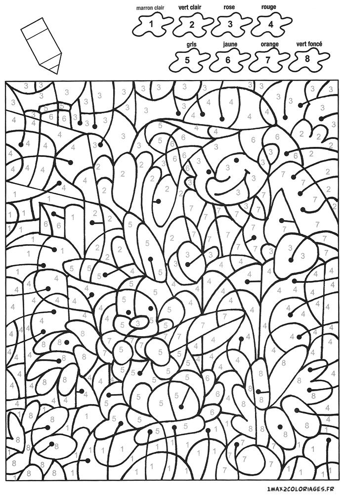 Colorier avec les nombres avec 8 couleurs un lapin mange - Coloriage magique nombres ...