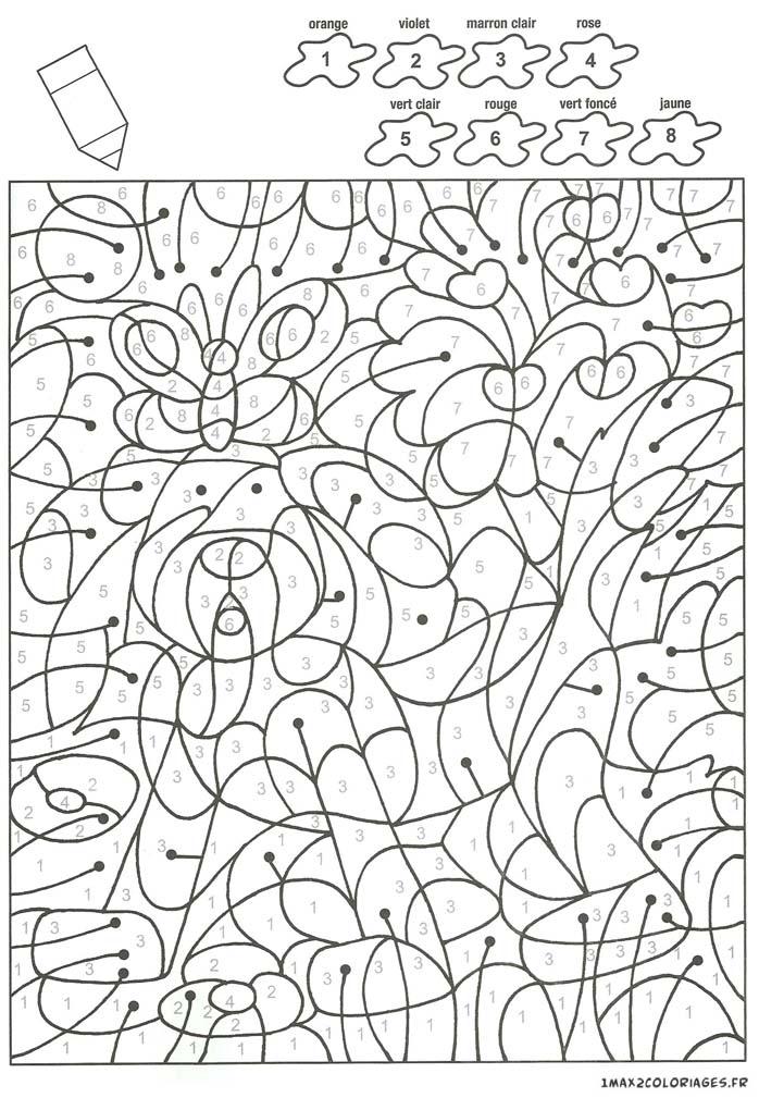 Colorier avec les nombres avec 8 couleurs un petit chien - Coloriage avec des chiffres ...