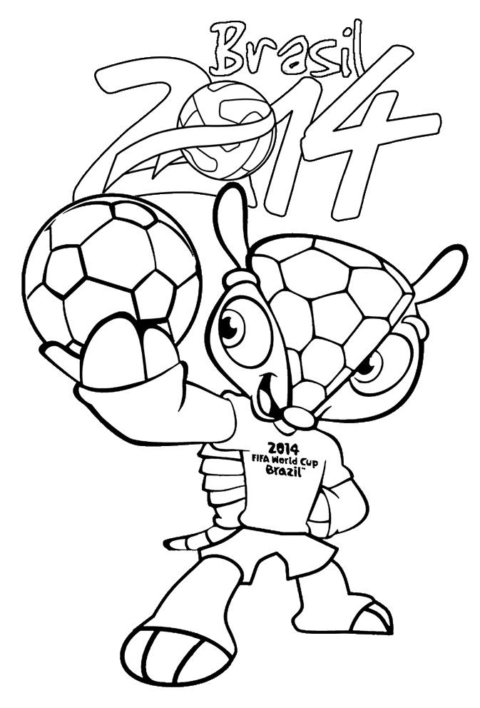 Coloriage De La Mascotte De La Coupe Du Monde 2014 Au Bresil A Imprimer