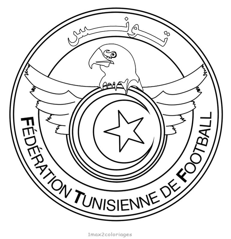 Coloriage Des Logos Des Equipes De Football Du Mondial 2018 En Russie Logo Equipe De Football De Tunisie A Colorier Tunisie The Logo Of The 2014 World Team Coloring
