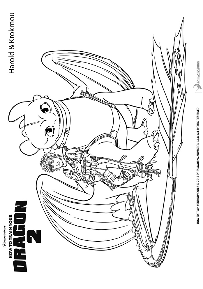 Coloriage Krokmou Et Harold De Dragons 2 A Imprimer