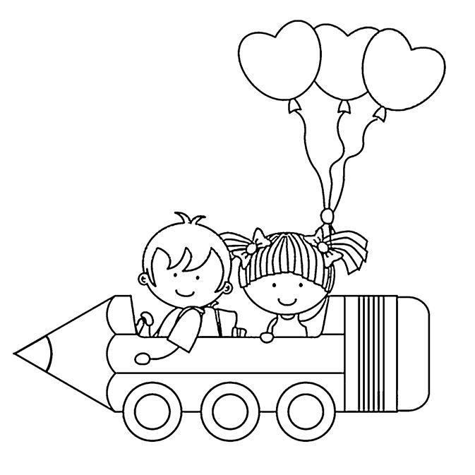 Coloriages rentr e des classes des enfants et des ballons - Coloriage rentree des classes ...