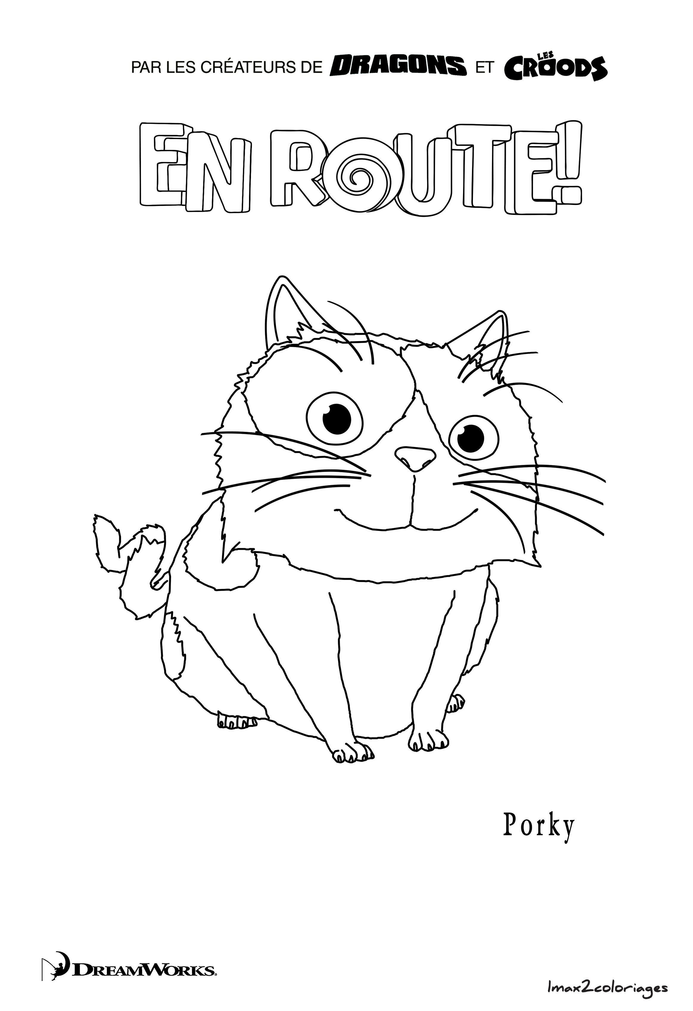 Coloriage porky le chat de tif personnage du film - Dessin de route ...