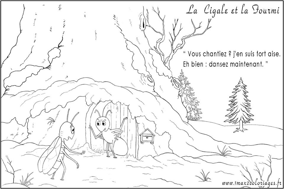 Dessin de fable a colorier - Dessin cigale et fourmi ...