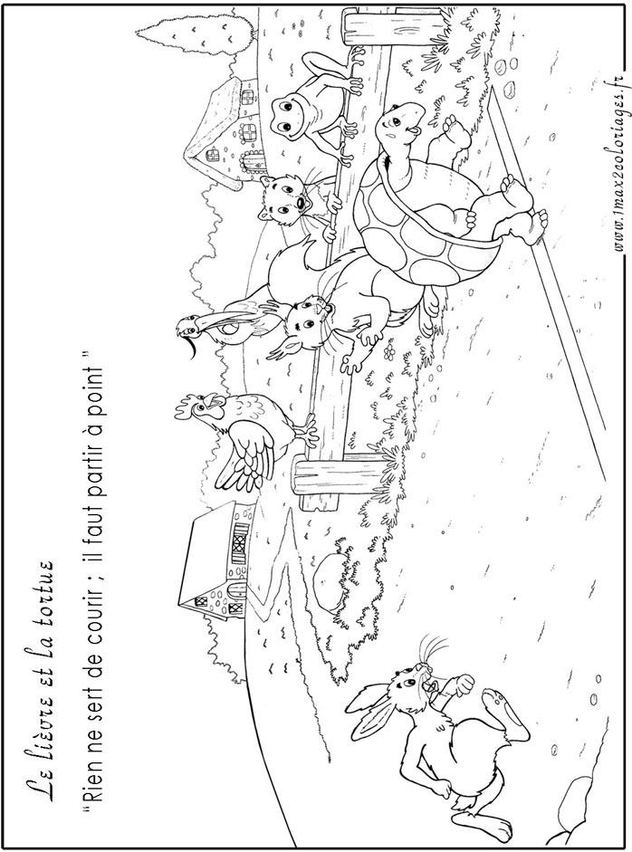 Coloriages des fables de lafontaine le lievre et la tortue - Dessin du lievre et de la tortue ...