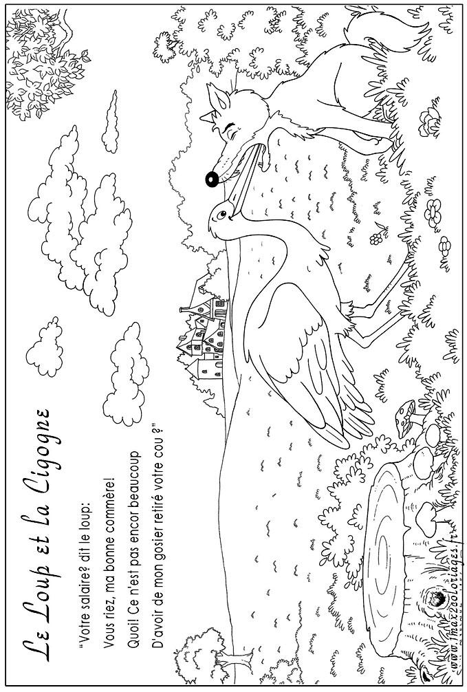 Coloriages des fables de lafontaine le loup et la cigogne a imprimer - Cigogne dessin ...