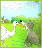 Coloriage de la fable le loup et la cigogne de jean de la fontaine - Le renard et la cigogne dessin ...