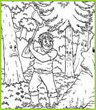 Coloriage de la fable la for t et la b cheron de jean de la fontaine - Coloriage de bucheron ...