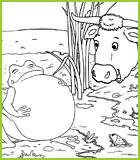 Coloriages des fables de la fontaine - Image la grenouille et le boeuf ...