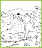 Coloriages des fables de la fontaine - Dessin le renard et la cigogne ...