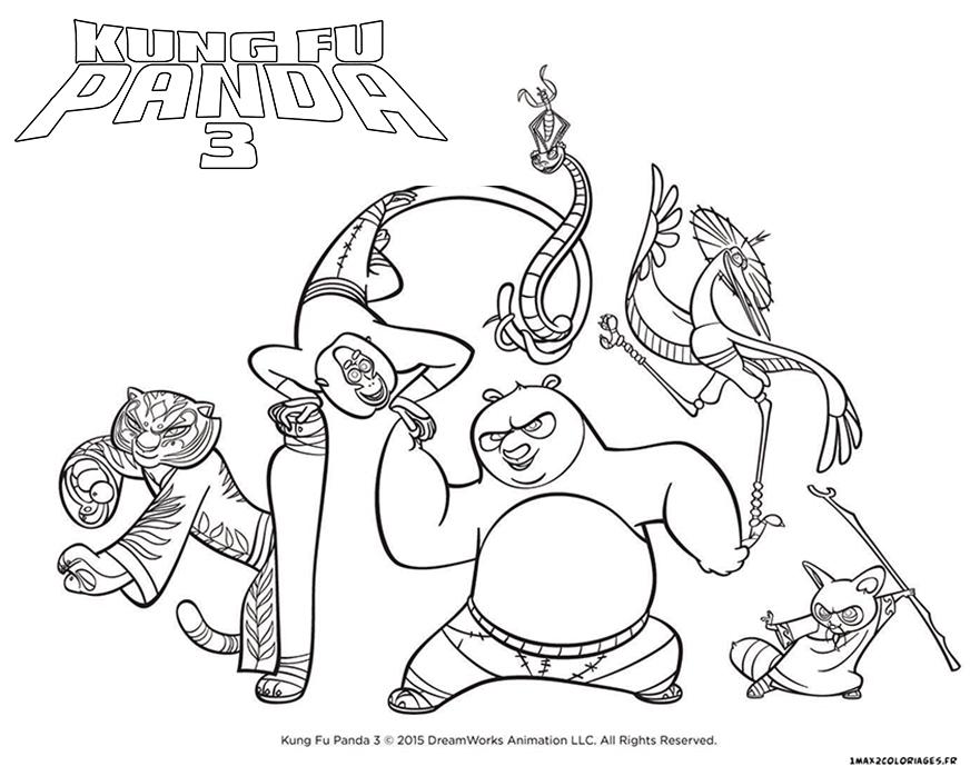 Kung fu panda 3 les principaux personnages colorier - Dessin kung fu panda ...