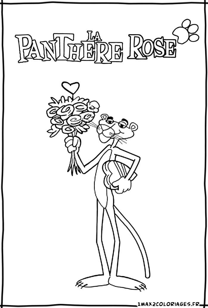 Pin le coloriage panthere rose pour imprimer on pinterest - Rose coloriage ...