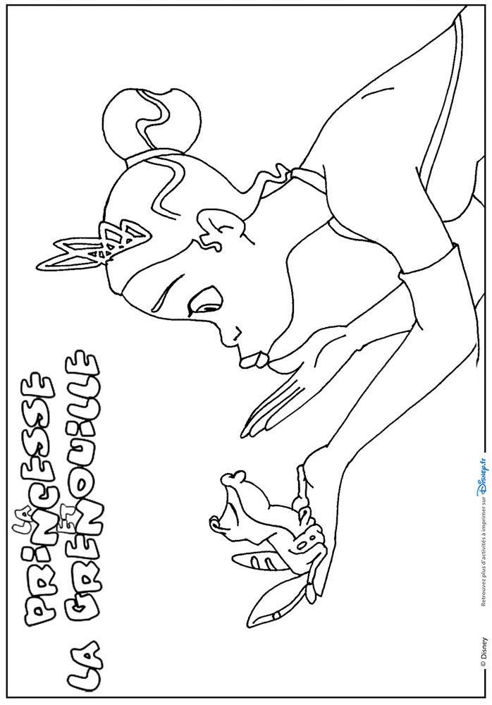 Princesse et la grenouille noir et blanc coloriage - Coloriage la princesse et la grenouille ...