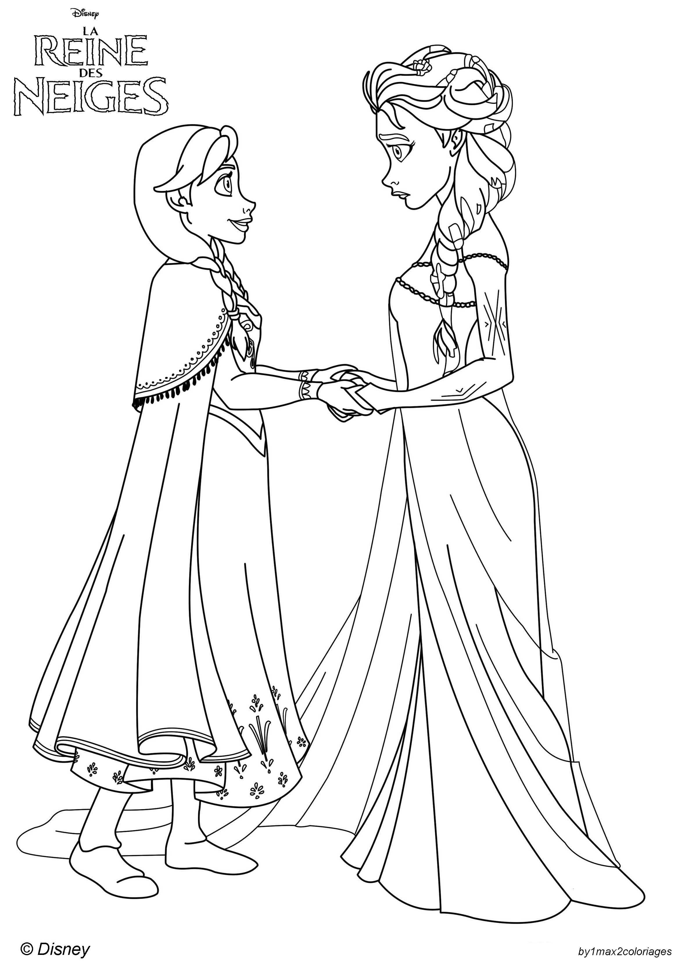 Coloriage Des Personnages Disney La Reine Des Neiges Anna Va Tout Faire Pour Aider Sa Soeur Elsa Coloring Page Frozen
