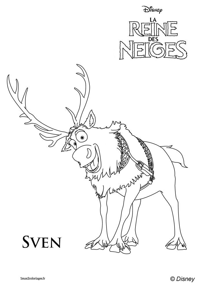 frozen coloring pages sven kristoff - photo#8