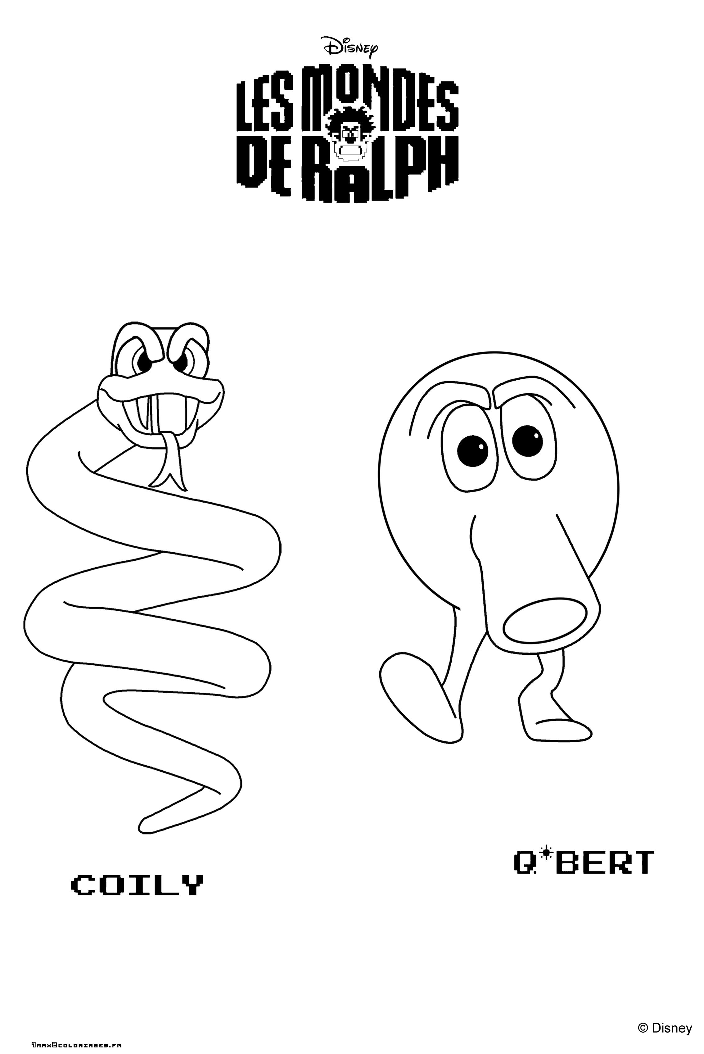 Coloring pages qbert - Coloriage Coily Et Q Bert